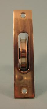 "THD241 2""Sash Pulley with brass wheel with a Square Solid Brass Faceplate"